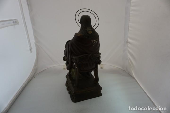 Arte: IMPRESIONANTE Y RARO SAGRADO CORAZON DE JESUS - PASTA DE MADERA - SENTADO EN SILLA - 40CM APROX - Foto 4 - 241190650