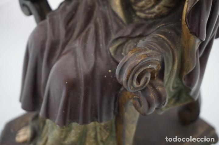 Arte: IMPRESIONANTE Y RARO SAGRADO CORAZON DE JESUS - PASTA DE MADERA - SENTADO EN SILLA - 40CM APROX - Foto 10 - 241190650