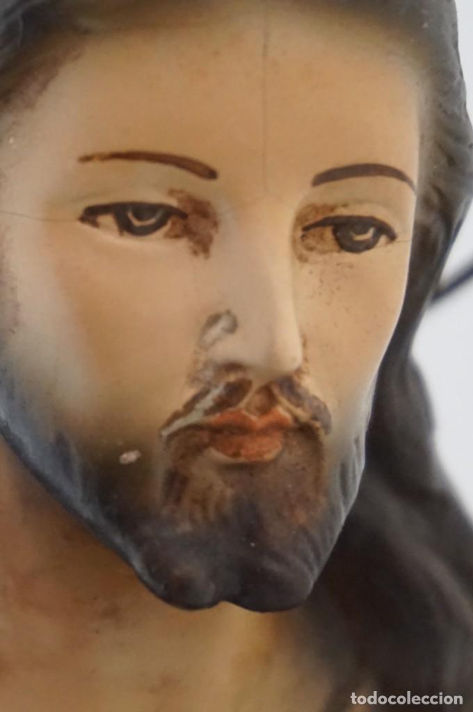 Arte: IMPRESIONANTE Y RARO SAGRADO CORAZON DE JESUS - PASTA DE MADERA - SENTADO EN SILLA - 40CM APROX - Foto 16 - 241190650