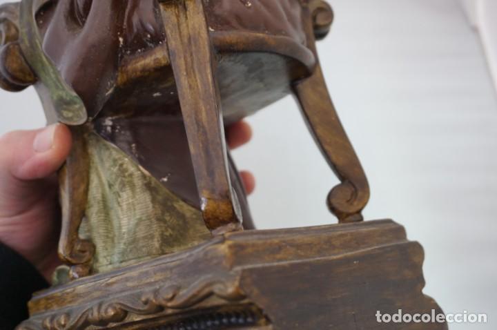 Arte: IMPRESIONANTE Y RARO SAGRADO CORAZON DE JESUS - PASTA DE MADERA - SENTADO EN SILLA - 40CM APROX - Foto 22 - 241190650