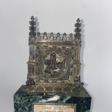 Arte: FIGURA DE PLATA SANT JORDI BARCELONA CON BASE DE MARMOL. MEDIADOS S.XX.. Lote 244962550