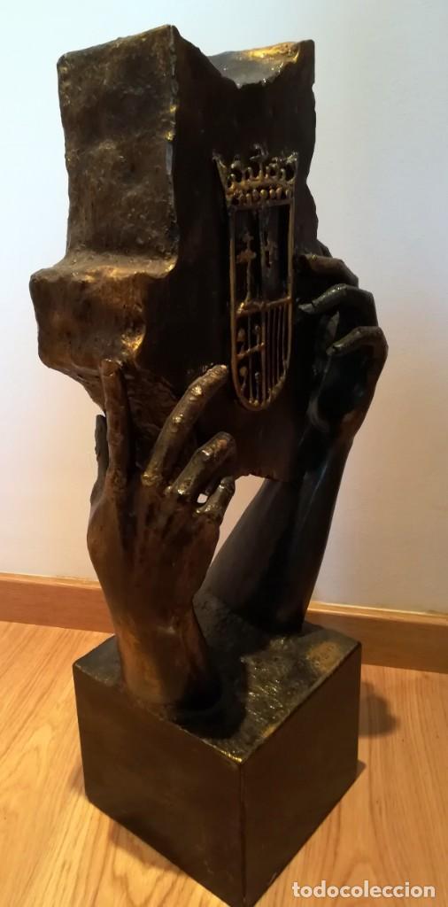 Arte: ESCULTURA MANUEL M. LOPEZ ESCUDO ARAGON METAL 8,4 kg 67 cm - Foto 4 - 246260285