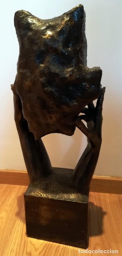 Arte: ESCULTURA MANUEL M. LOPEZ ESCUDO ARAGON METAL 8,4 kg 67 cm - Foto 5 - 246260285