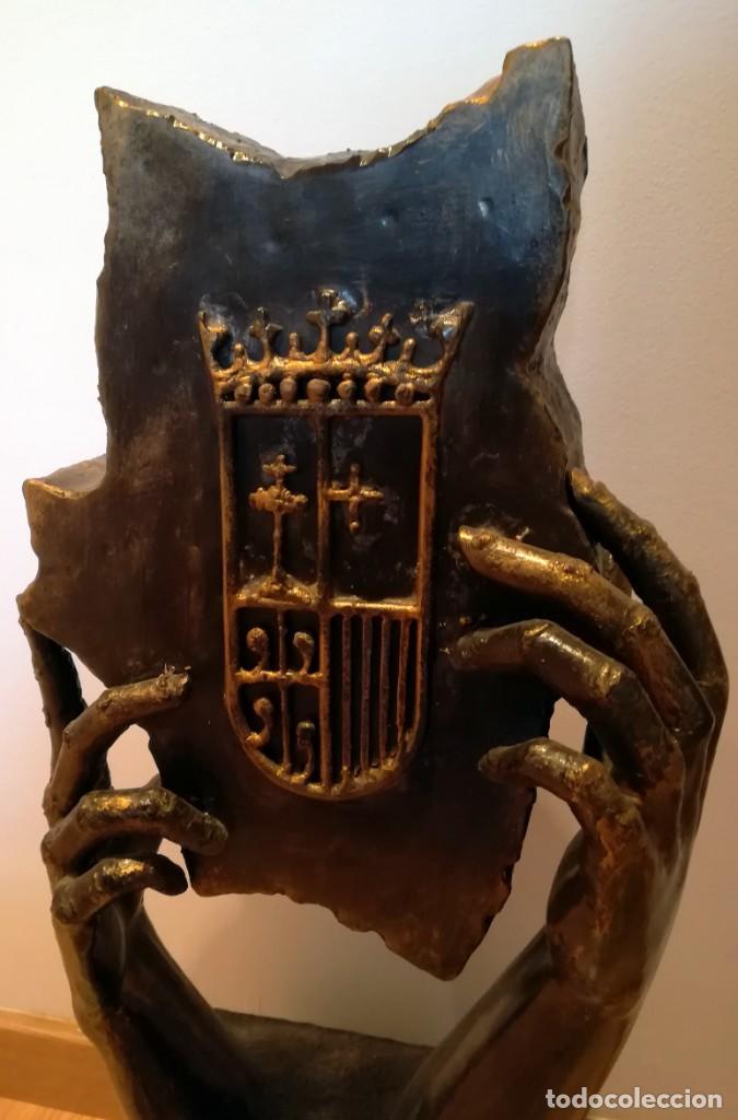 Arte: ESCULTURA MANUEL M. LOPEZ ESCUDO ARAGON METAL 8,4 kg 67 cm - Foto 9 - 246260285