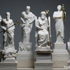 Arte: SET 6 DIOSES GRIEGOS ZEUS POSEIDON APOLO HERMES HEPHAESTUS ARES FIGURA DE ESTATUA. Lote 258797365