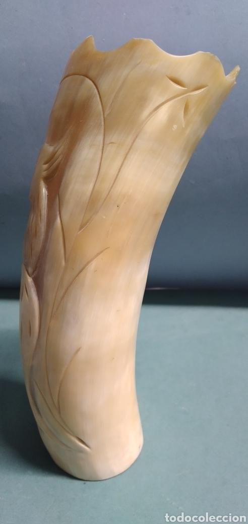 Arte: Cuerno cuerna tallado fino escena ave - Foto 4 - 261920095