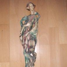Art: FIGURA ORIENTAL DE MUJER CON AVES REALIZADA EN MARFILINA DE 46CM. VER DESCRIPCIÓN. Lote 262886730
