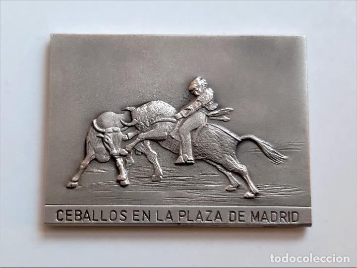 CUADRO TIPO LINGOTE GOYA SIMIL (DOBLE CARA) PASE ALTO DE JOSELITO Y CABALLOS PLAZA MADRID - 62.80.GR (Arte - Escultura - Otros Materiales)