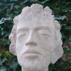 Arte: BUSTO ROSTRO HOMBRE JOVEN - ARTE CLASICO - TAMAÑO NATURAL - MODELO DE ESTUDIO. Lote 277287203