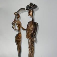 Arte: FIGURA DE BRONCE PLATEADO, BALADA DE DOS. FIRMADA LOHE. S.XX.. Lote 286296548