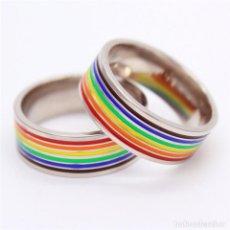 Artesanía: ANILLO DE ARCO IRIS LGBT. ACERO INOXIDABLE 316L. TAMAÑO 8. Lote 69003145