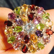 Artesanía - Precioso anillo plata y piedras semipreciosas firmado nuevo - 87060348