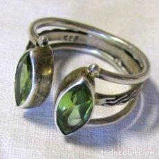 Artesanía - Anillo de plata 925 con 2 olivinos facetados Talla 17 - 142608170