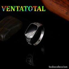 Artesanía: ANILLO SELLO VINTAGE DE ORO BLANCO DE 18 KILATES LAMINADO -CON ZAFIROS TALLA 7 PESA 4,43 GR-Nº322. Lote 150595342