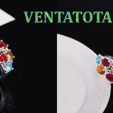 Artesanía: SORTIJA VINTAGE DE ORO BLANCO DE 18 KILATS LAMINADO CON GEMAS VARIADAS -TALLA 8 PESA 4,64 GR-N460. Lote 155324322