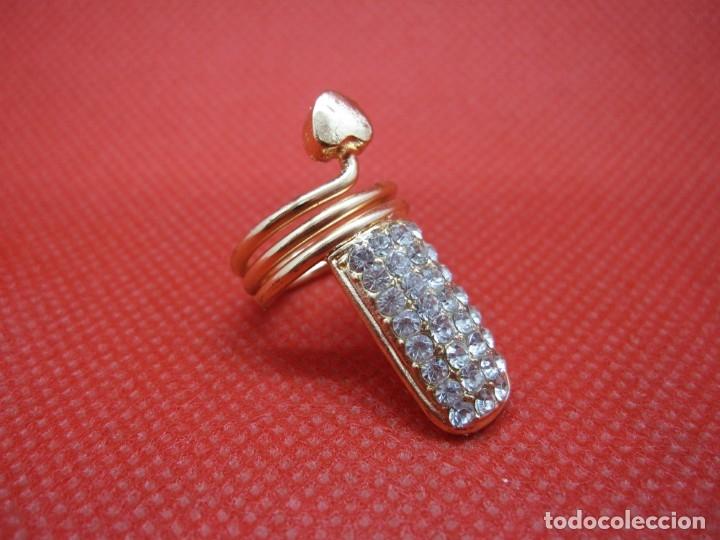 Artesanía: Anillo uña brillantes dorado - Foto 6 - 181323101
