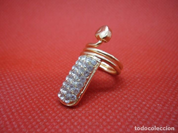 Artesanía: Anillo uña brillantes dorado - Foto 7 - 181323101