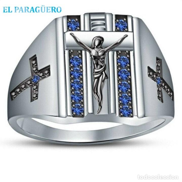 SELLO CRUZ JESUS VINTAGE CON ZAFIROS ES DE ORO BLANCO DE 18 KILATS LAMINADO PESA 36 GRA TALLA 9-N493 (Artesanía - Anillos)