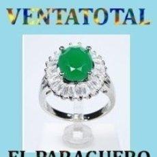 Artesanía: SORTIJA VINTAGE CON ESMERALDA ZAFIROS ES DE ORO BLANCO DE 18 KILATS LAMINADO PESA 19 GR TALLA 7-N516. Lote 183034506