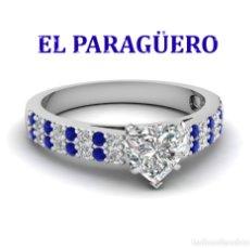 Artesanía: SOLITARIO VINTAGE CON ZAFIROS ES DE ORO BLANCO DE 18 KILATS LAMINADO PESA 17 GR TALLA 7-N538. Lote 183177128