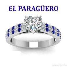 Artesanía: SOLITARIO VINTAGE CON ZAFIROS ES DE ORO BLANCO DE 18 KILATS LAMINADO PESA 16 GR TALLA 6-N543. Lote 183178841