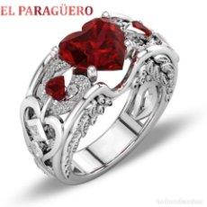 Artesanía: ANILLO CORAZON VINTAGE CON RUBI ES DE ORO BLANCO DE 18 KILATS LAMINADO PESA 35 GR TALLA 8-N561. Lote 183197146