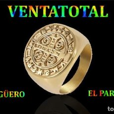 Artesanía: SELLO TEMPLARIO VINTAGE DE ORO AMARILLO DE 18 KILATES LAMINADO TALLA 10 PESA 17 GRA-Nº771. Lote 184053295
