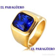 Artesanía: SORTIJA VINTAGE DE ORO AMARILLO DE 18 KILATES LAMINADO CON ZAFIRO AZUL TALLA 8 PESA 9 GR-Nº847. Lote 188761312