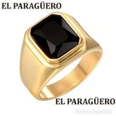 Artesanía: SORTIJA VINTAGE DE ORO AMARILLO DE 18 KILATES LAMINADO CON ZAFIRO NEGRO TALLA 9 PESA 12 GR-Nº857. Lote 188763555