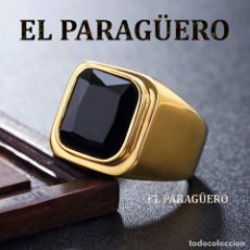Artesanía: SORTIJA VINTAGE DE ORO AMARILLO DE 18 KILATES LAMINADO CON ZAFIRO NEGRO TALLA 8 PESA 11 GR-Nº859. Lote 188763650