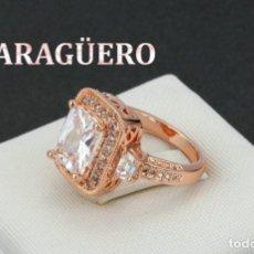 Artesanía: SORTIJA VINTAGE DE ORO ROSA DE 18 KILATES LAMINADO CON ZAFIROS - TALLA 8 - PESA 6 GRA N137. Lote 189231145