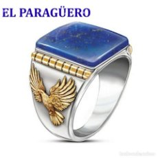Artesanía: ANILLO VINTAGE DE ORO BLANCO DE 18 KILATS LAMINADO CON LAPISLAZULI -HAY MAS PREGUNTA TU TALLA-N760. Lote 190174483