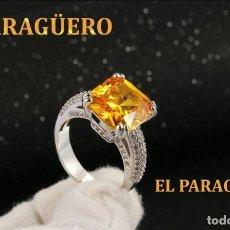 Artesanía: ANILLO VINTAGE DE ORO BLANCO DE 18 KILATS LAMINADO CON ZAFIRO -HAY MAS PREGUNTA TU TALLA-N766. Lote 190178672