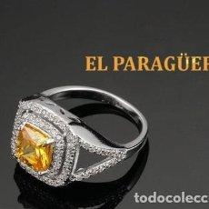 Artesanía: ANILLO VINTAGE DE ORO BLANCO DE 18 KILATS LAMINADO CON ZAFIRO -HAY MAS PREGUNTA TU TALLA-N770. Lote 190179885