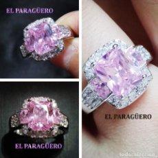 Artesanía: ANILLO VINTAGE DE ORO BLANCO DE 18 KILATS LAMINADO CON ZAFIRO -HAY MAS PREGUNTA TU TALLA-N783. Lote 190768690