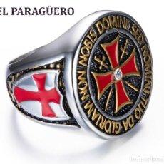 Artesanía: ANILLO TEMPLARIO VINTAGE DE ORO BLANCO DE 18 KILATS LAMINADO -HAY MAS PREGUNTA TU TALLA-N652. Lote 190771188
