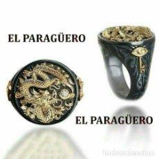 Artesanía: SELLO DRAGON VINTAGE DE ORO NEGRO Y AMARILLO DE 18 KILATES LAMINADO - HAY MAS PREGUNTA TU TALLA-Nº92. Lote 191020723