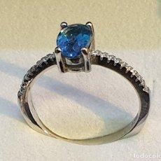 Artesanía: ANILLO TOPACIO LONDON BLUE Y CIRCONES EN PLATA 925 RODIADA. Lote 193790437