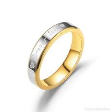 Artesanía: PRECIOSO ANILLO ALIANZA DE ACERO INOXIDABLE CON INSCRIPCION FOREVER LOVE. VARIAS TALLAS. NUEVO. 4MM . Lote 194228845