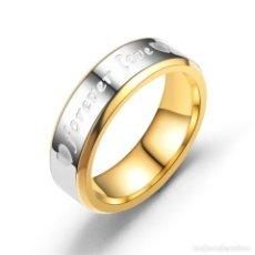 Artesanía: PRECIOSO ANILLO ALIANZA DE ACERO INOXIDABLE CON INSCRIPCION FOREVER LOVE. VARIAS TALLAS. NUEVO. 6MM . Lote 194229471