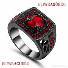 Artesanía: ANILLO TIPO SELLO VINTAGE DE ORO NEGRO DE 18 KILATES LAMINADO CON RUBIS ROJO SANGRE -TALLA 8 - Nº129. Lote 197372953