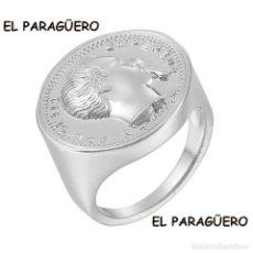 Artesanía: SORTIJA SELLO CON TIPO MONEDA DE NAPOLEON III ES DE ORO BLANCO DE 18 KILATES LAMINADO - Nº837. Lote 212129778