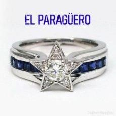 Artesanía: SORTIJA ESTRELLADE ORO BLANCO DE 18 KILATES LAMINADO CON ZAFIROS - PESA 5 GRA-TALLA 7 - Nº908. Lote 215968890
