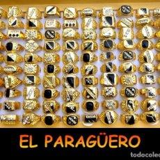 Artesanía: LOTE DE 100 ANILLOS DE 1ª VARIADOS DE ORO DE 18 KILATES LAMINADO CON GEMAS -PESO TOTAL 600 GRA. Lote 174043603
