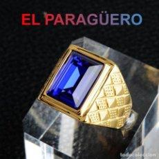 Artesanía: ANILLO SORTIJA DE DE ORO AMARILLO DE 24 KILATES LAMINADO - CON ZAFIRO- PESO 17 GRAMOS TALLA 10-N1052. Lote 238142135