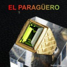 Artesanía: ANILLO SORTIJA DE DE ORO AMARILLO DE 24 KILATES LAMINADO - CON ZAFIRO- PESO 17 GRAMOS TALLA 11-N1057. Lote 238144745