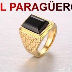 Artesanía: ANILLO SORTIJA DE DE ORO AMARILLO DE 24 KILATS LAMINADO-CON ZAFIRO NEGRO-PESO 17 GRAMS TALLA 7-N1074. Lote 238153235