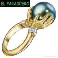 Artesanía: CALIDAD SUPERIOR SORTIJA CON TIPO PERLA NEGRA ES DE ORO AMARILLO DE 24 KILATS LAMINADO-TALLA 8-N1107. Lote 280814273
