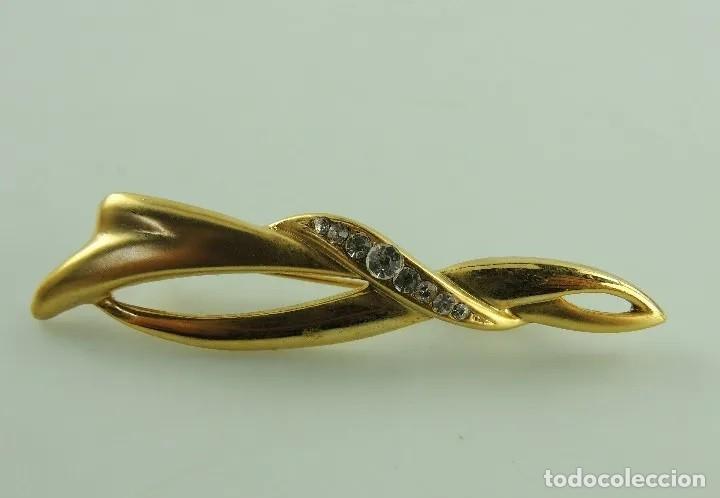 Artesanía: VINTAGE BROCHE baño de oro de 14 k Y CRISTALES - Foto 2 - 193421986
