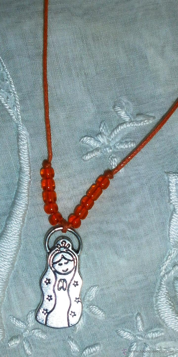 Artesanía: C2 Collar corto artesanal - Virgen plata tibetana y abalorios - Cordón naranja - Foto 3 - 42563482